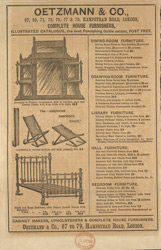 Advert for Oetzmann & Co, cabinet & furniture makers, reverse side